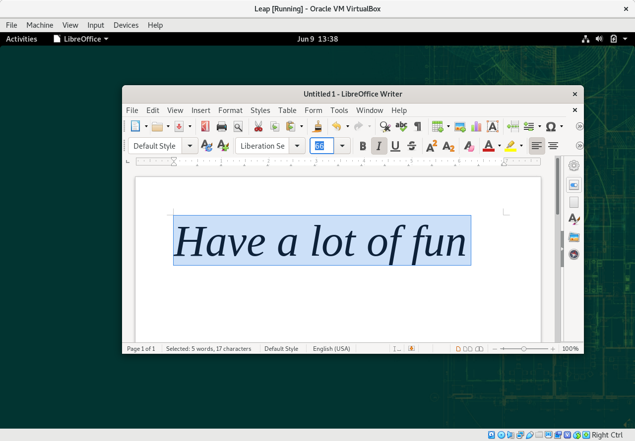 LibreOffice 6.4 Trong GNOME Leap 15.2