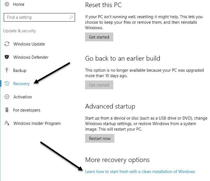 recovery options windows